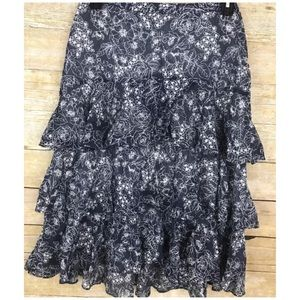 Banana Republic Size 4 Skirt Tiered Floral